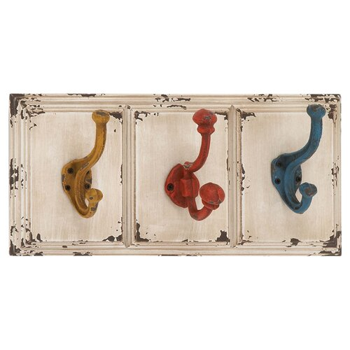 Woodland Imports Wood and Metal Wall Hooks