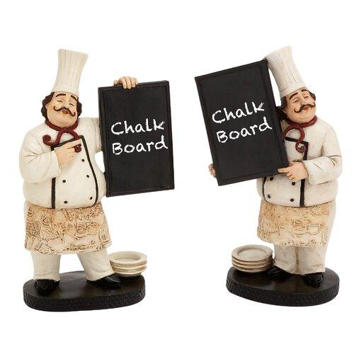 Woodland Imports 2 Piece The Cutest Chef Figurine Chalkboard Set