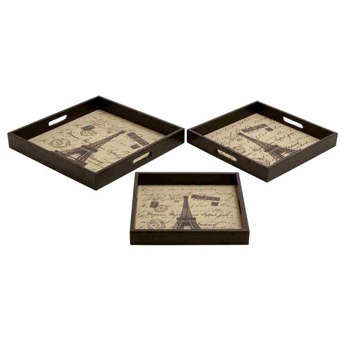 Woodland Imports 3 Piece Square Serving Tray Set