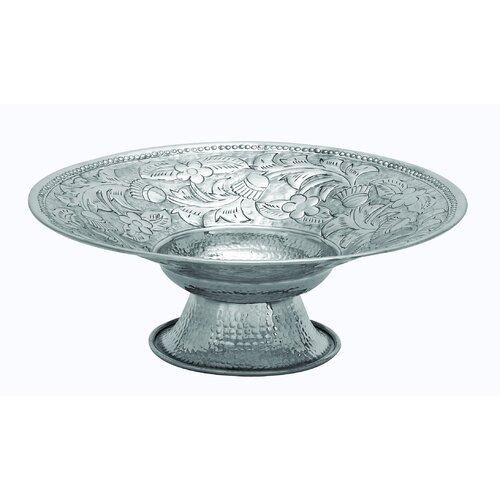 Woodland Imports Aluminum Round Pedestal Bowl
