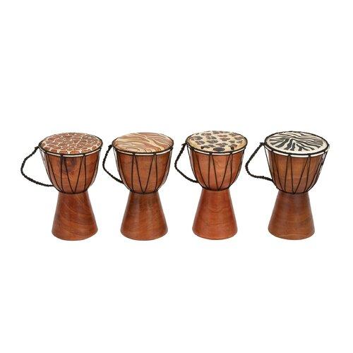 4 Piece Decorative Varnished Wood Drum Set