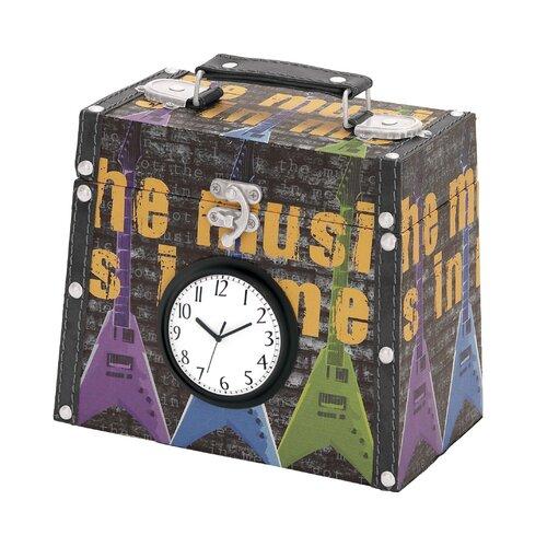 Woodland Imports Library Storage Books Wood Canvas Clock Box