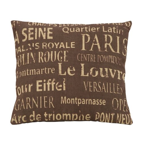 Woodland Imports Paris Tourist Destinations Theme Pillow
