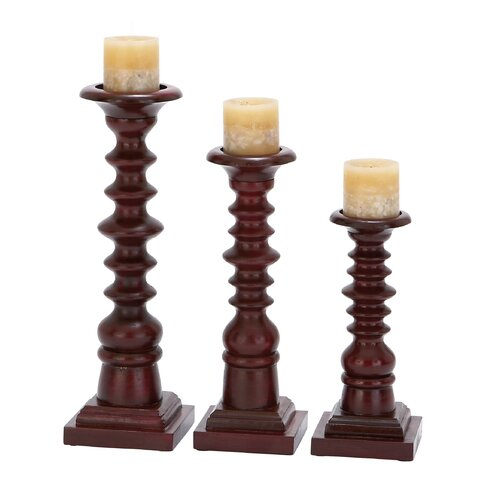 Woodland Imports Wood Candlestick (Set of 3)