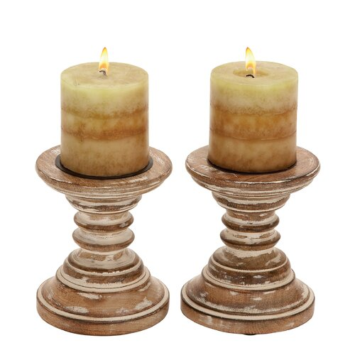 Woodland Imports Wood Candlestick (Set of 2)