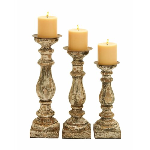 Woodland Imports Wooden Candle Holder (Set of 3)
