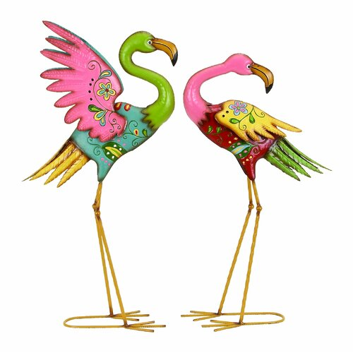 Woodland Imports Outdoor Garden Flamingo Statue Set