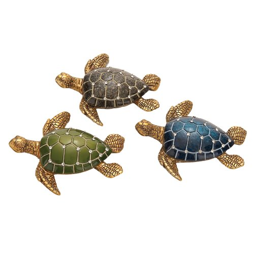 Polystone Table Top Turtle Assorted Statues (Set of 3)