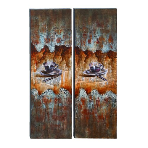 Coffee House 2 Piece Painting Print on Canvas Set