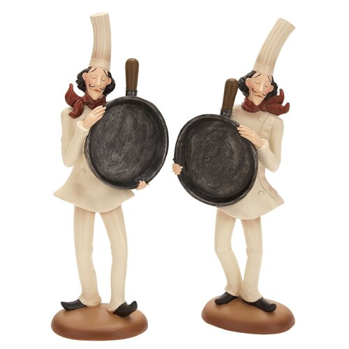 Woodland Imports 2 Piece Polystone Chef Blackboard Figurine Set