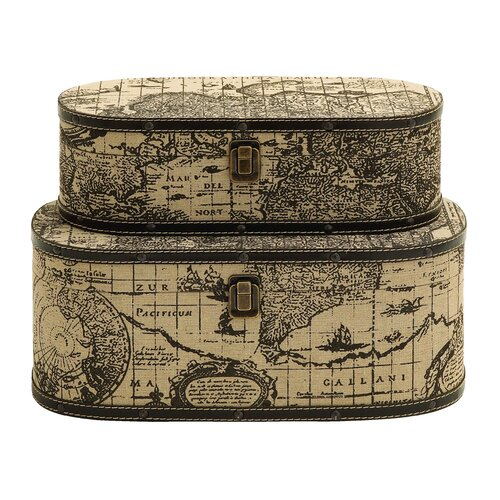 Ancient World Map Traveling Box (Set of 2)