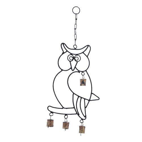 Woodland Imports Wall Hanger Metal Owl Wind Chime