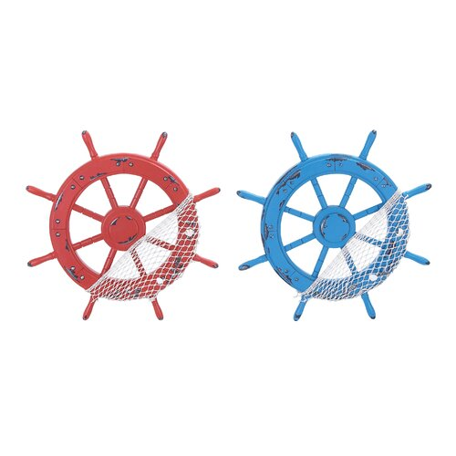 Woodland Imports 2 Piece Ships Wheel Statue Wall Décor Set