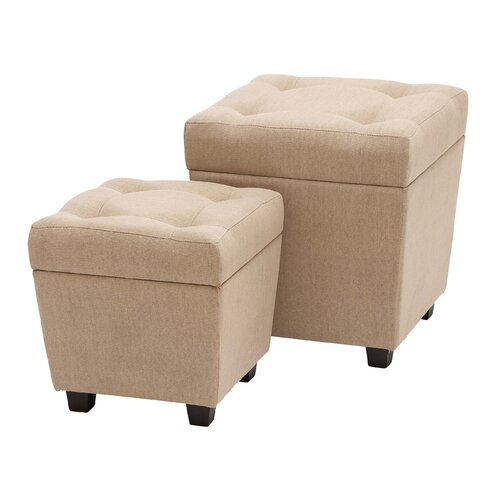 Burlap Storage Stool (Set of 2)