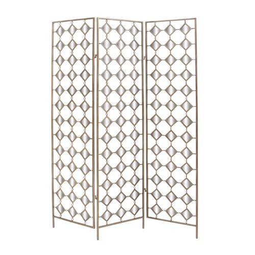 "Woodland Imports 71"" x 51"" 3 Panel Mirror Room Divider"