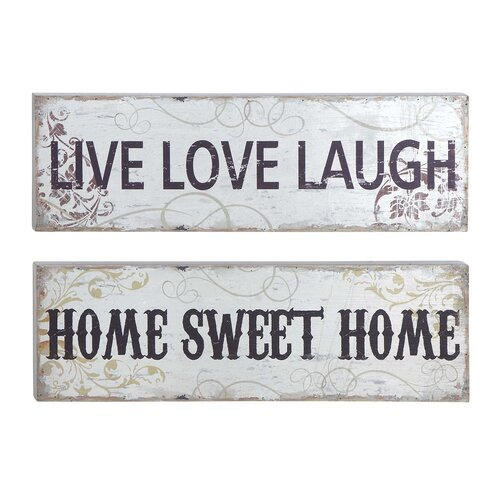 Woodland Imports 2 Piece Textual Art on Canvas Set