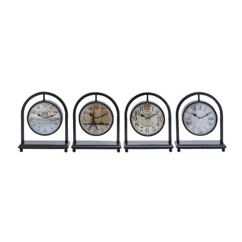French Metal Desk Clock (Set of 4)