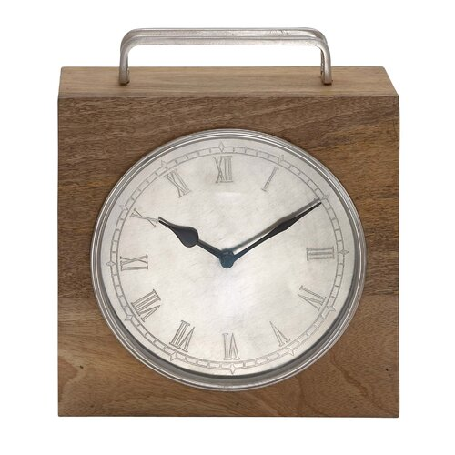 Wooden Framed Table Clock with Metal Handle