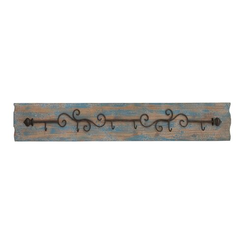 6 Curved Metal Wall Coat Rack