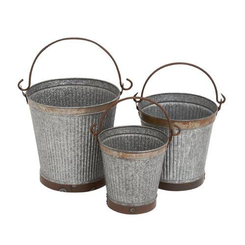 Woodland Imports 3 Piece Metal Galvanized Bucket Set