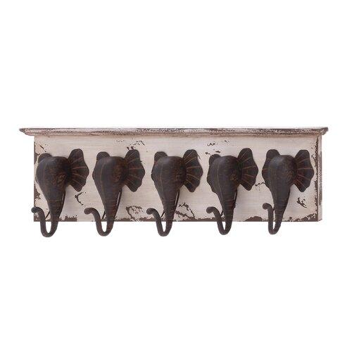 Wood and Metal Elephant Wall Hooks