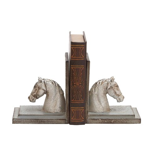 Woodland Imports Polystone Horse Head with Wood Book Ends