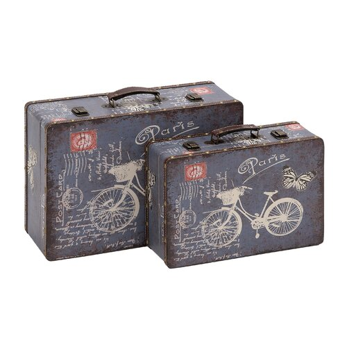 2 Piece Wooden Vinyl Printed Vintage Suitcase Set