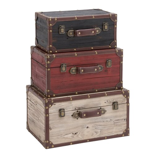 Woodland Imports 3 Piece Wooden Trunk Set