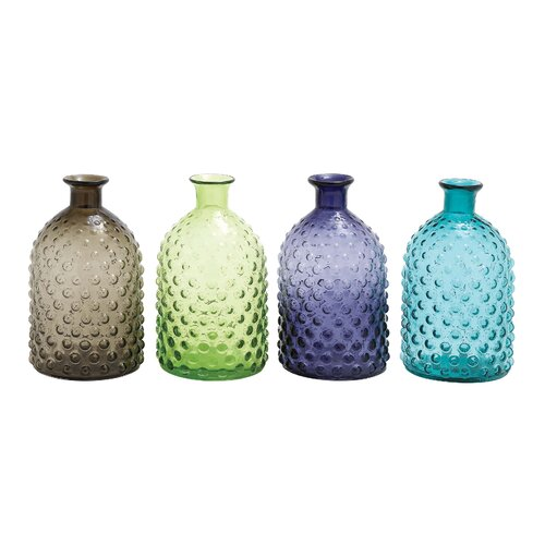 Woodland Imports 4 Piece Colorful Glass Vase