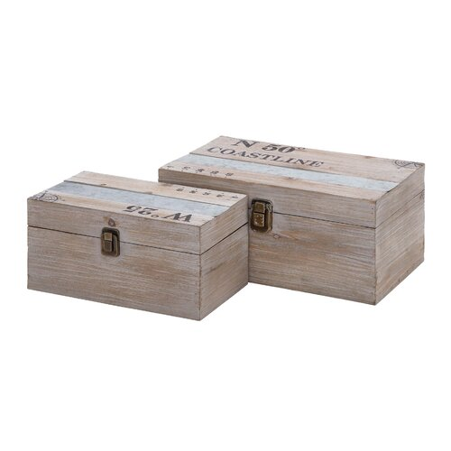 Woodland Imports 2 Piece Wood and Metal Box Set