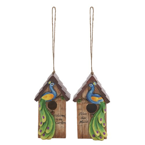 Woodland Imports 2 Piece Peacock Hanging Birdhouse Set