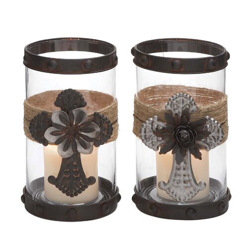 Woodland Imports 2 Piece Metal and Glass Hurricane Set