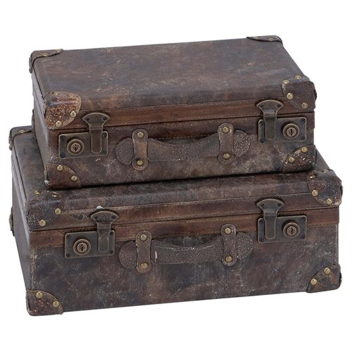 Woodland Imports 2 Piece Wood & Leather Trunk Set