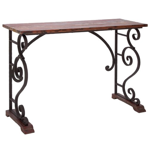 Woodland imports vintage cabinet metal wood console table Metal console table