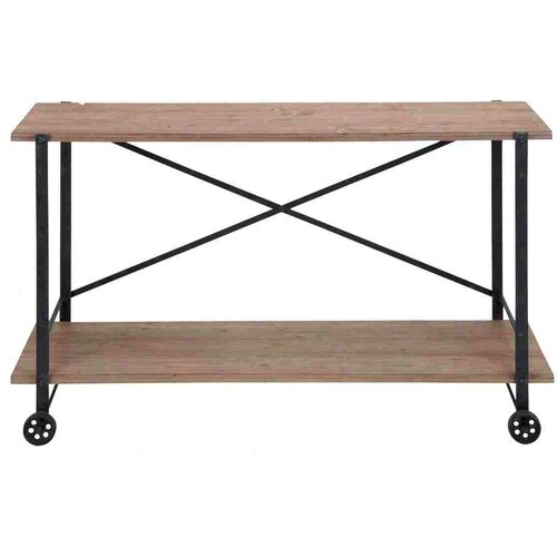 Woodland Imports Accent Metal Wood Console Table