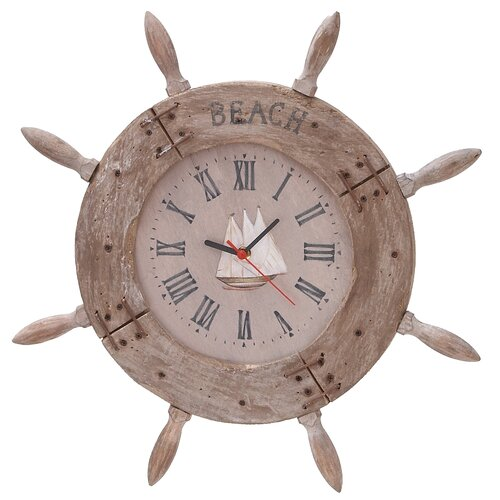 "Woodland Imports 20"" Ship Wheel Wall Clock"