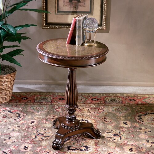 Heritage Etched Brass Round End Table