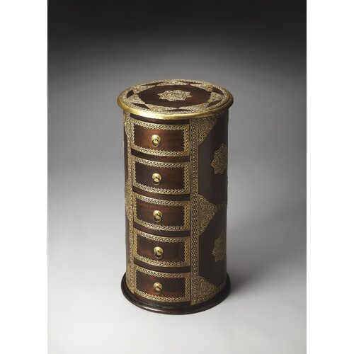 Artifacts Rajan Brass Inlay Pedestal Chest