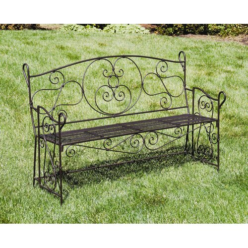 ACHLA Ferro Firenze Entryway Wrought Iron Garden Bench
