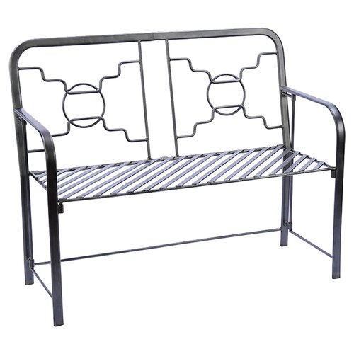 ACHLA Bows and Circles Wrought Iron Garden Bench