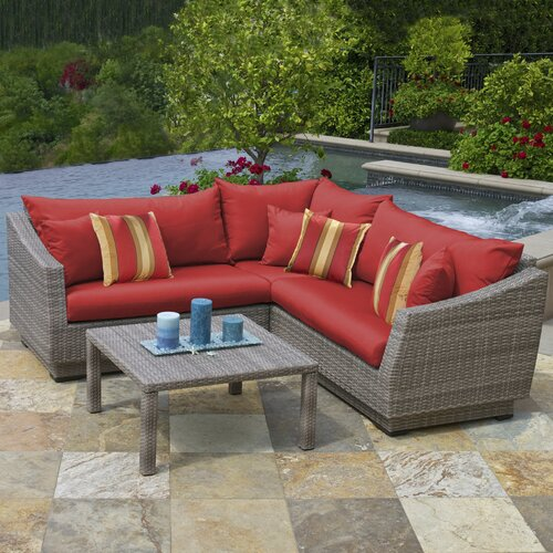 RST Outdoor Cannes 4 Piece Corner Sectional Seating Group with Cushions