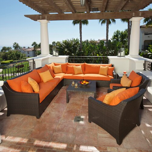 RST Outdoor Tikka 9 Piece Deep Seating Group with Cushions