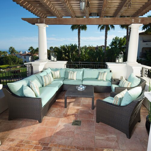 RST Outdoor Bliss 9 Piece Deep Seating Group with Cushions