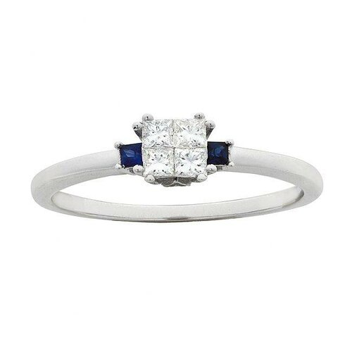 14k White Gold 1/4ct TDW Diamond with Blue Sapphires Ring