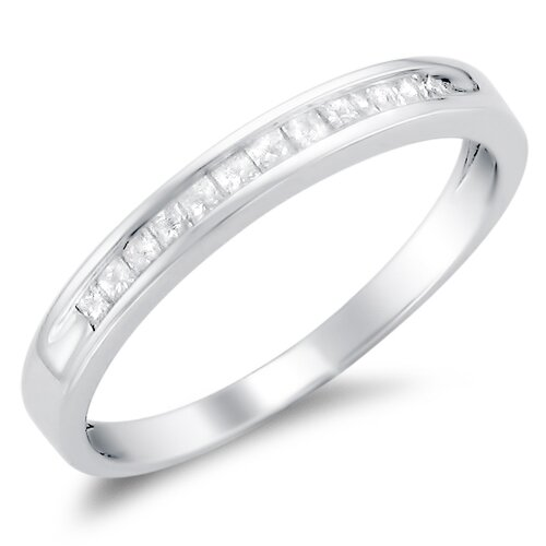 A Jewelers 14k White Gold 1/4 CTW Channel Set Diamond Wedding Ring