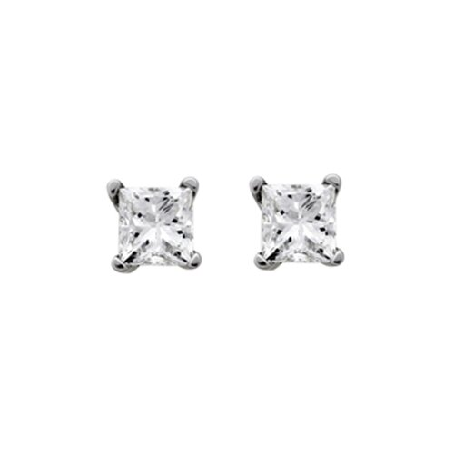 14k White Gold 3/8ct TDW EGL Certified Princess-Cut Diamond Earrings