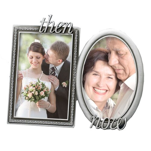 Wedding Krystal Then and Now Double Picture Frame