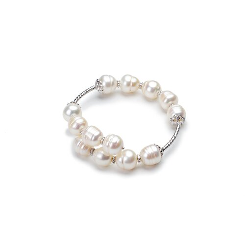 Eco Opulence Cultured Pearl and Textured Wire Bracelet