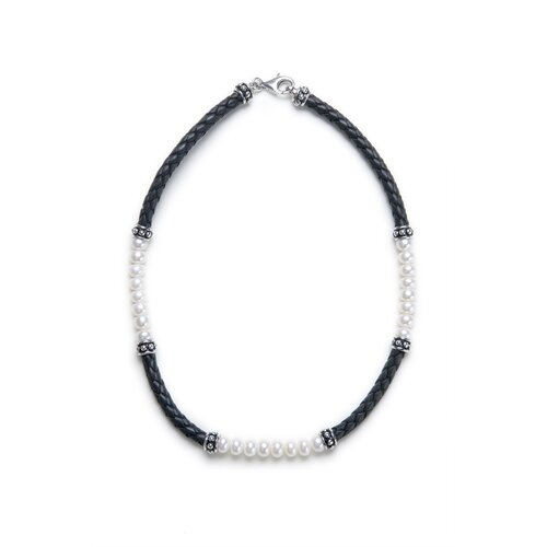 Black Leather Braided Leather and Cultured Pearl Necklace