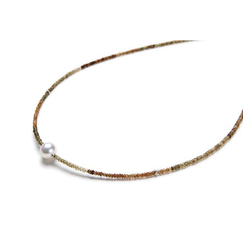 Eco Opulence Tourmaline and Round Cultured Pearl Necklace